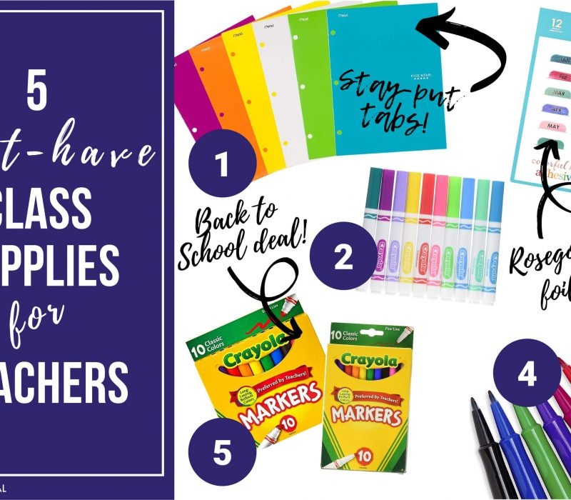pictures of markers, folders and planner tabs recommended for teachers